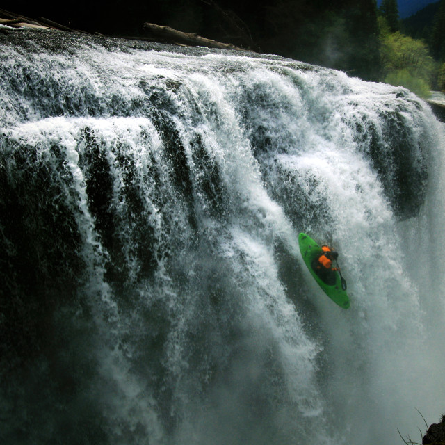 """Kayaking Lower Lewis Falls, WA"" stock image"