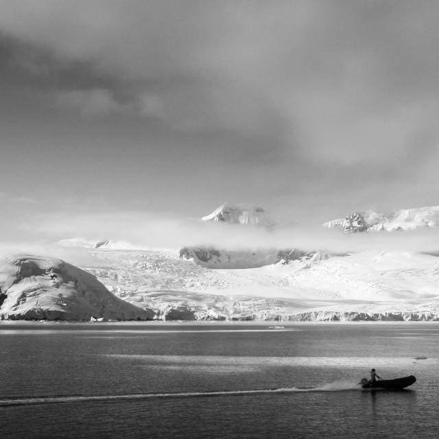 """Zodiac cruising in Antarctica"" stock image"