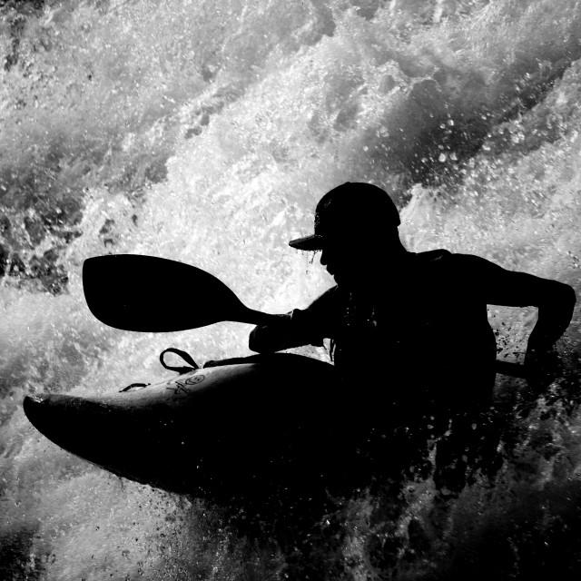 """""""Kayaker Silhouette"""" stock image"""