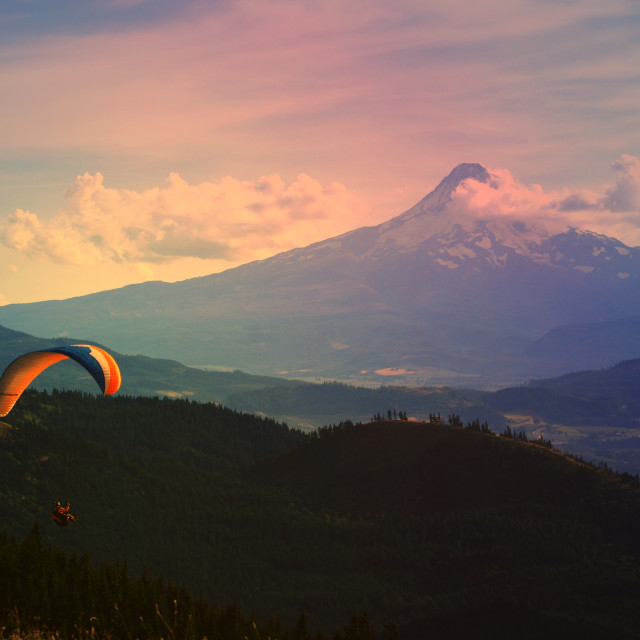 """Paragliding near Mt. Hood, Oregon"" stock image"