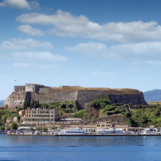 """new fortress and port Corfu town Greece"" stock image"