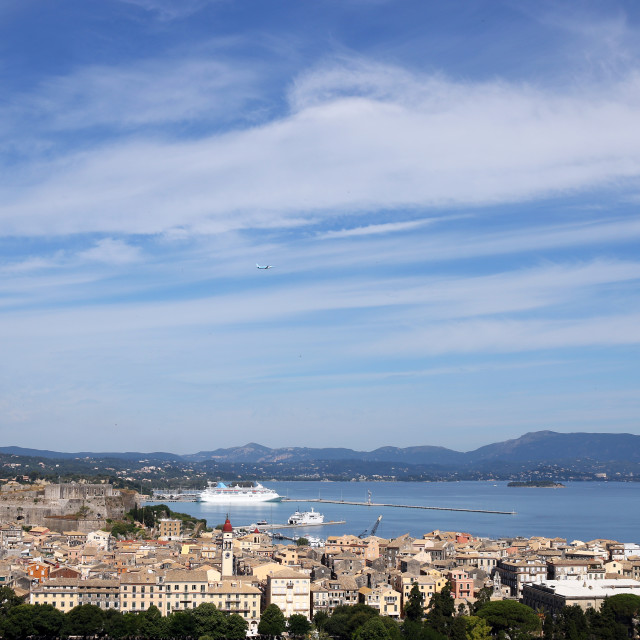 """Corfu town and port with cruiser cityscape"" stock image"