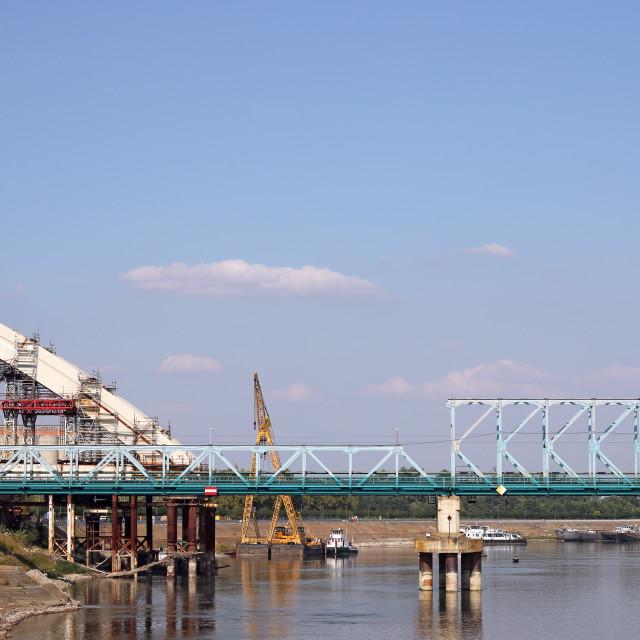 """new bridge construction site on Danube river"" stock image"