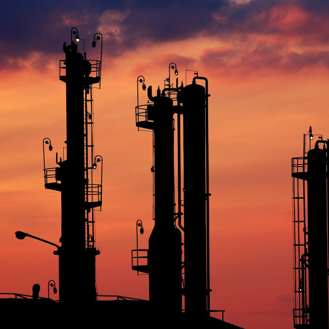 """""""petrochemical plant silhouette twilight"""" stock image"""