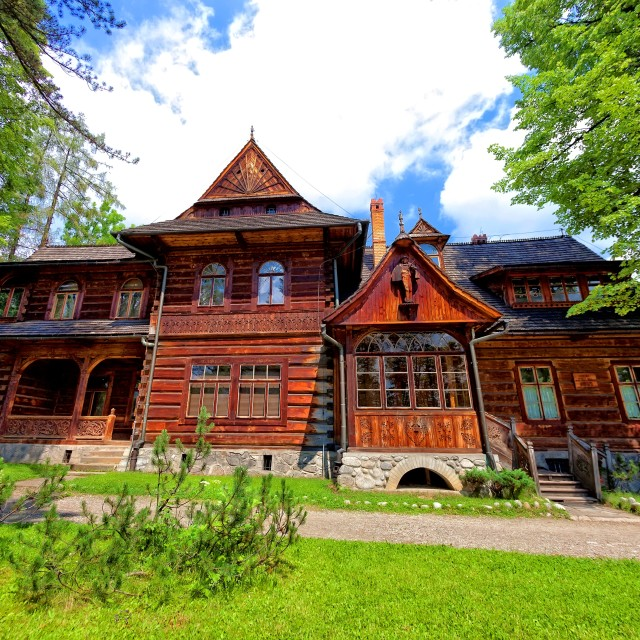 """Old house in the mountain style"" stock image"