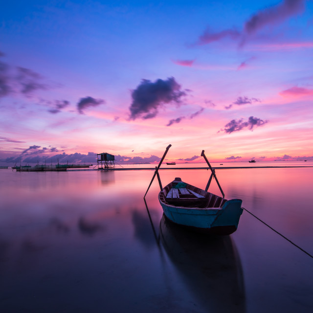 """Peaceful Sunrise at Phu Quoc island"" stock image"
