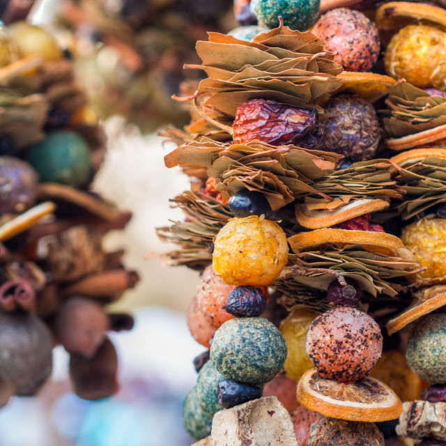 """traditional christmas market decoration, kiosk full of cinnamon"" stock image"