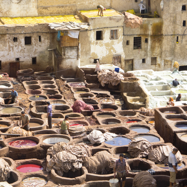 """""""People working in Leather Tanneries , Morocco"""" stock image"""