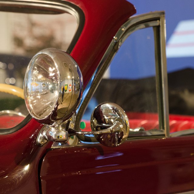 """Retro headlamp on the car"" stock image"
