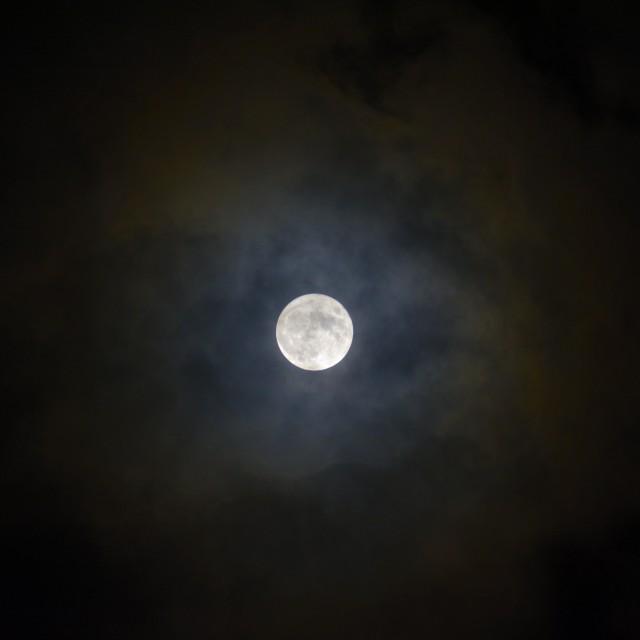 """Frosty moon/Lune de givre"" stock image"