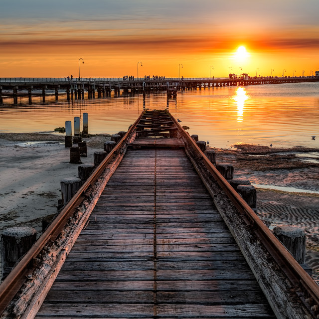 """Old Boat Ramp St Kilda Beach"" stock image"