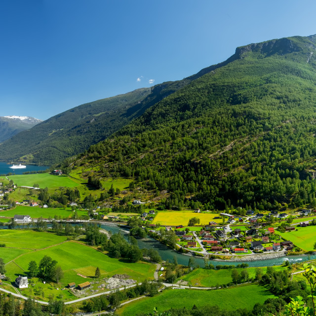 """""""Flaam Valley Norway Panorama"""" stock image"""
