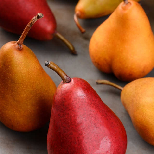 """Bosc and Red Pears Closeup"" stock image"