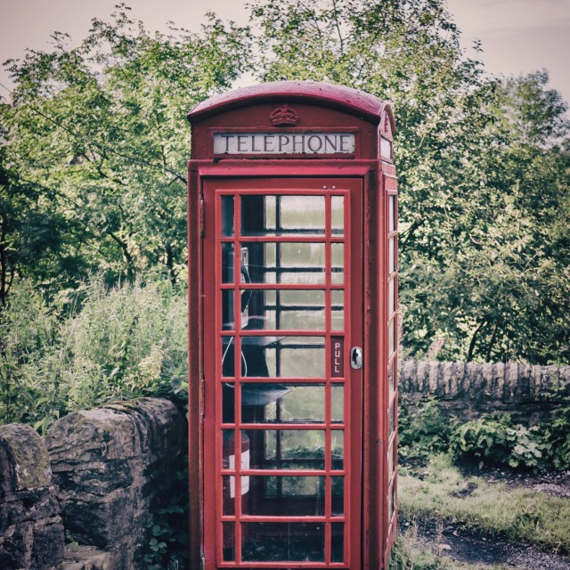 """Red phone booth"" stock image"