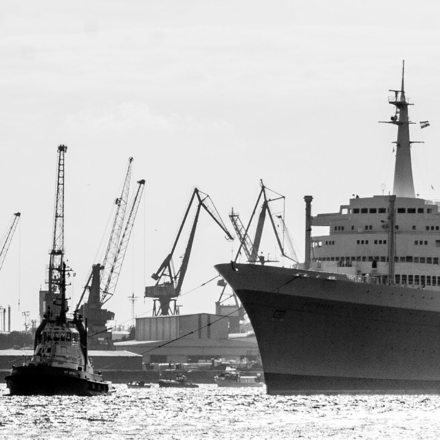 """SS Rotterdam passes Verolme Shipyard"" stock image"