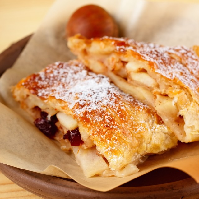 """""""Two portions of apple strudel on earthen plate"""" stock image"""