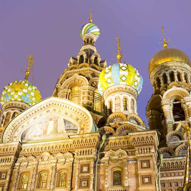 """Church of Savior on the Spilled Blood at night"" stock image"