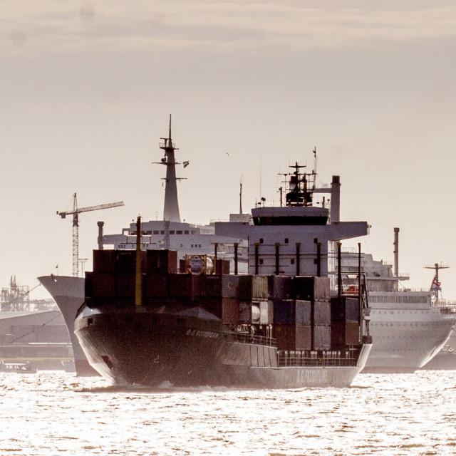 """""""BG Rotterdam passes SS Rotterdam"""" stock image"""
