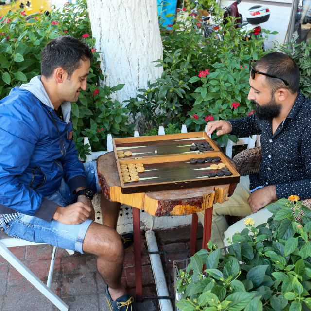 """""""Young Guys playing Backgammon in Turkey"""" stock image"""