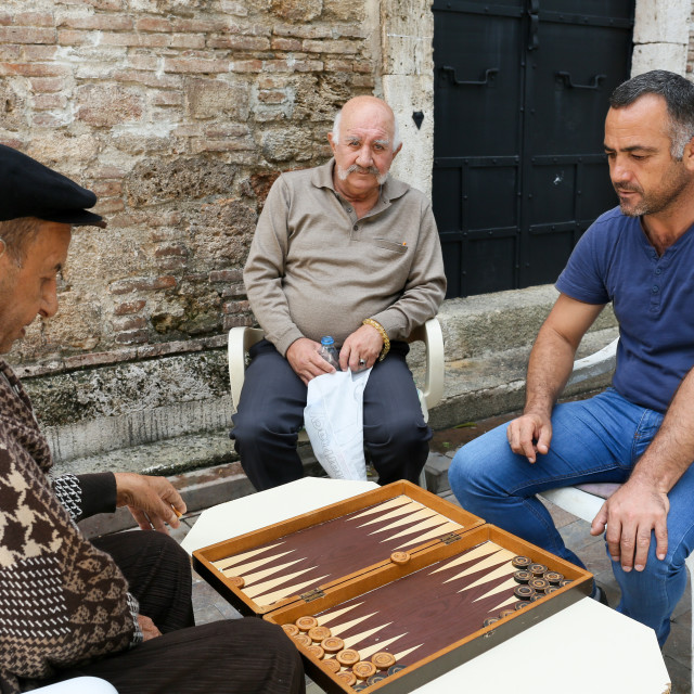 """Serious backgammon"" stock image"