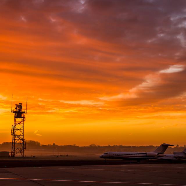 """airfield sunrise"" stock image"