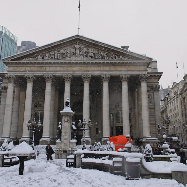"""Royal Exchange, City, London, England, Britain 2 Feb 2009"" stock image"