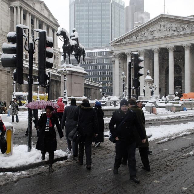 """The Bank of England and Royal Exchange, City, London, England, Britain 2 Feb 2009"" stock image"