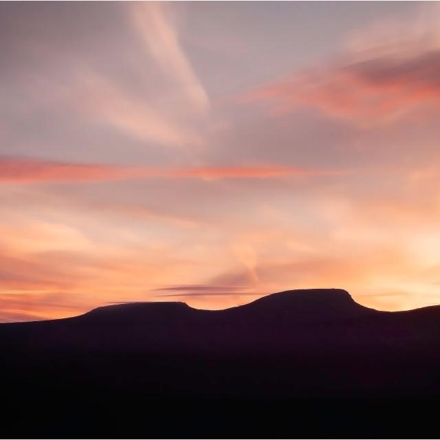 """""""Sun set on Pen Y Fan"""" stock image"""