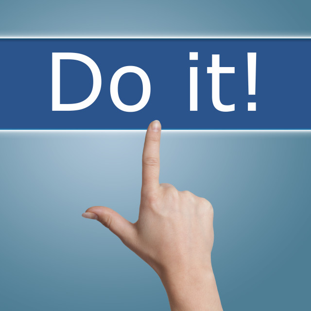 """""""pressing do it button"""" stock image"""