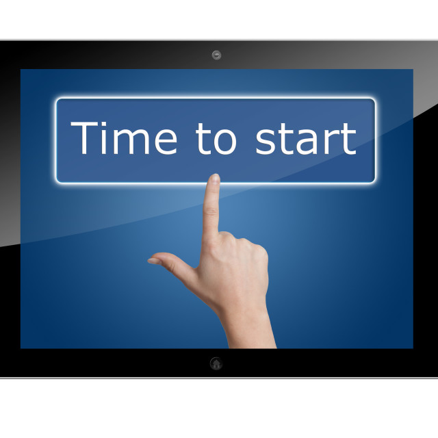 """""""Tablet time to start"""" stock image"""