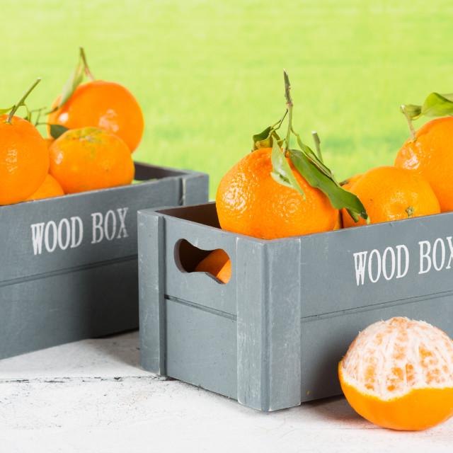 """Box of tangerines"" stock image"