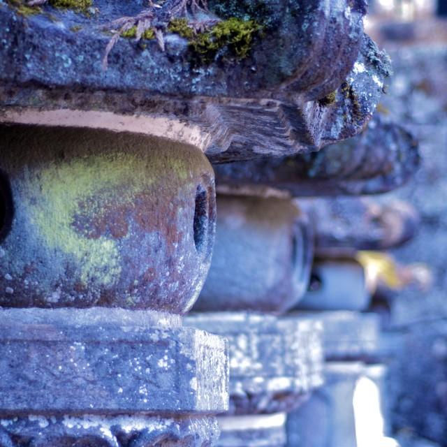 """Stone lanterns at the Nikko Mausoleum"" stock image"