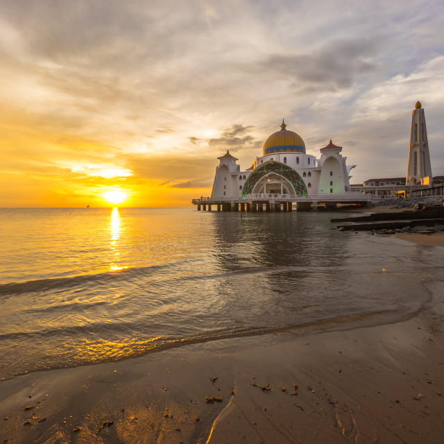 """Malacca Straits Mosque. Sunset."" stock image"