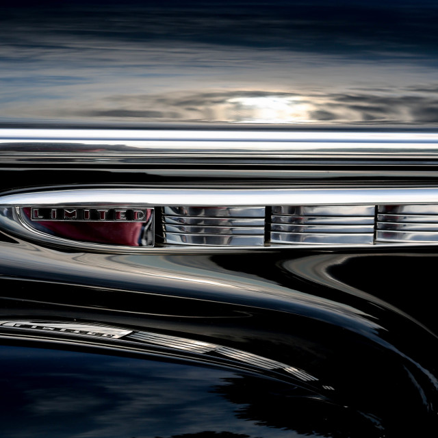 """Beautifully restored old black car"" stock image"