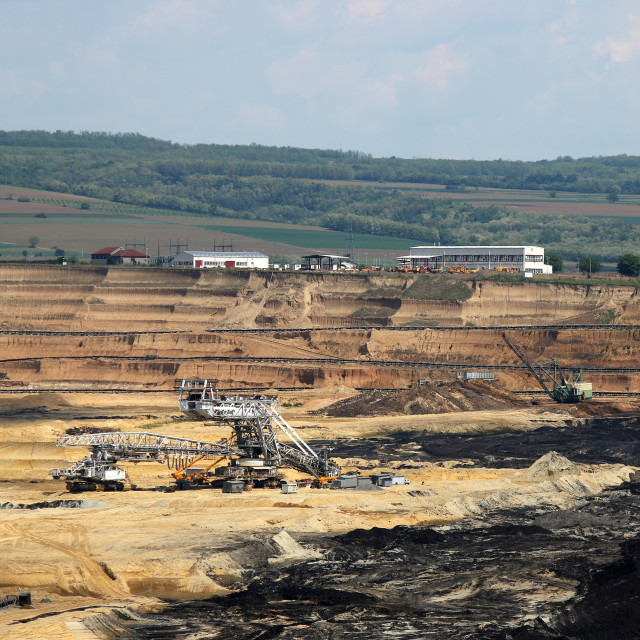 """open pit coal mine with machinery mining industry"" stock image"