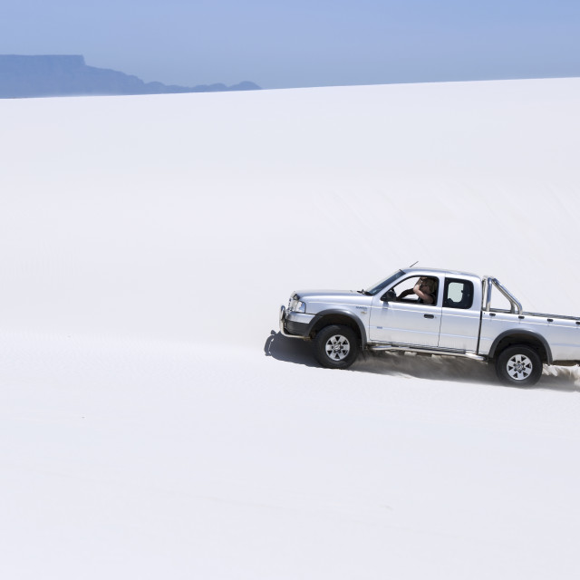 """4x4 in the White Dunes of Atlantis"" stock image"