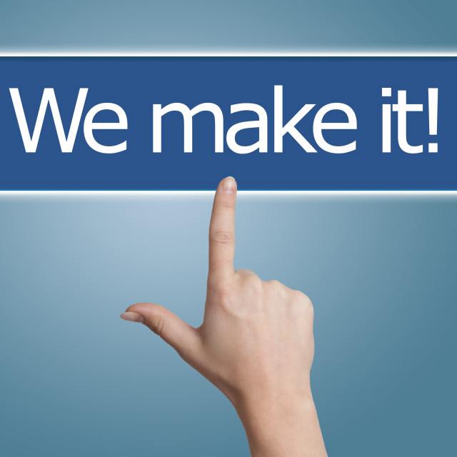 """""""pressing we make it button"""" stock image"""