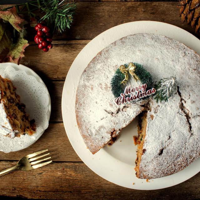 """Classic Christmas Fruit Cake"" stock image"