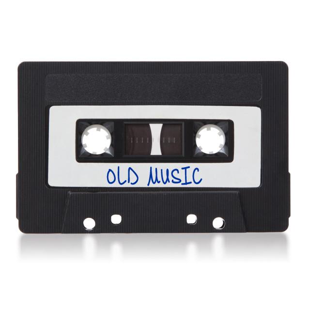 """Vintage audio cassette tape, isolated on white background"" stock image"