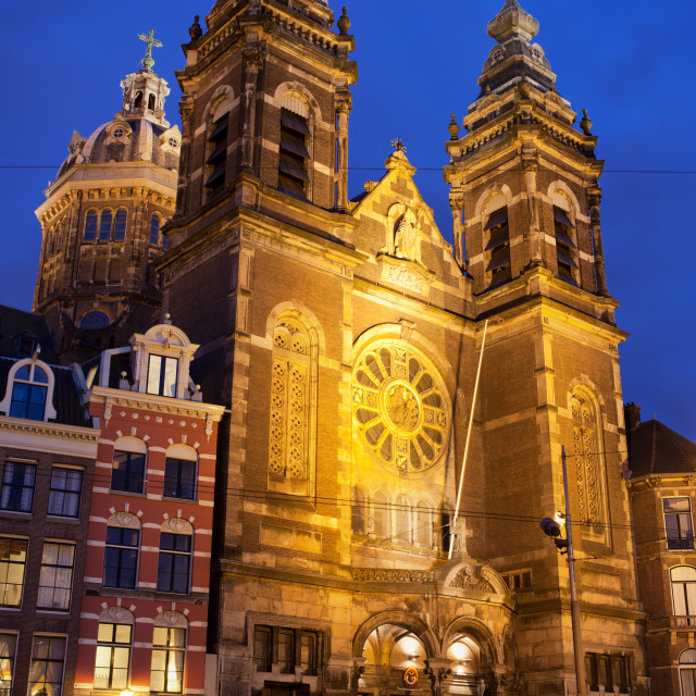 """Saint Nicholas Church at Night in Amsterdam"" stock image"