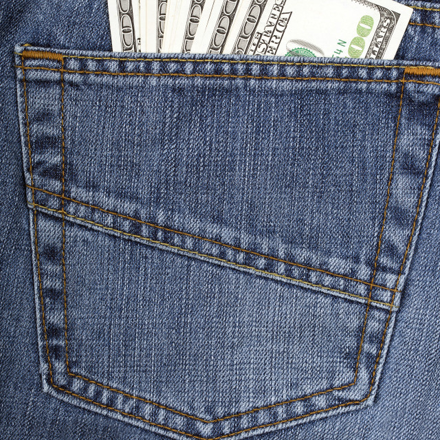 """Jeans with American money"" stock image"