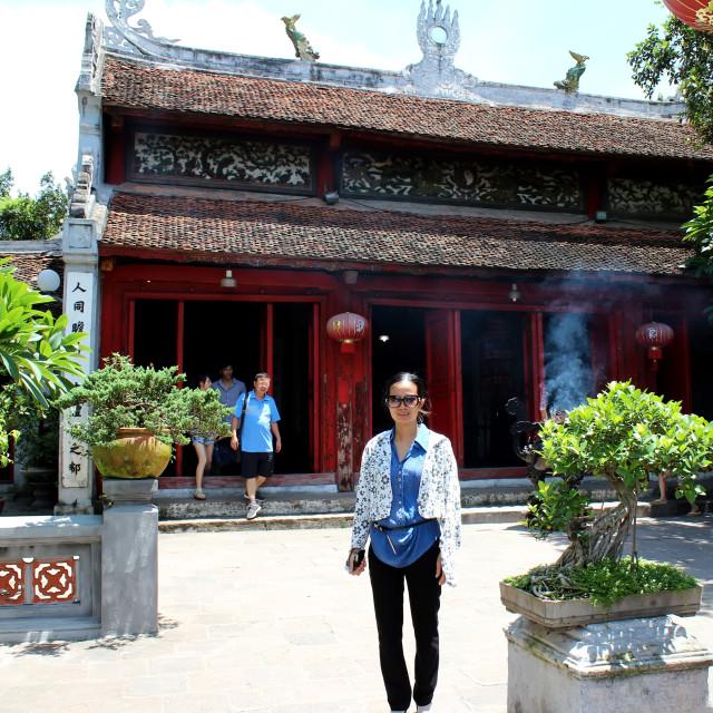 """tourist visit Ngoc Son temple and The Huc bridge"" stock image"