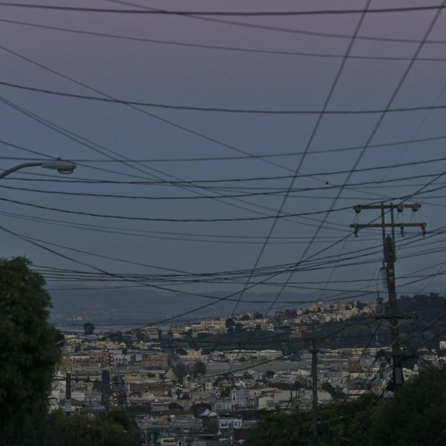 """Full moon over San Francisco"" stock image"