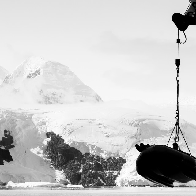 """Zodiac operations in Antarctica"" stock image"