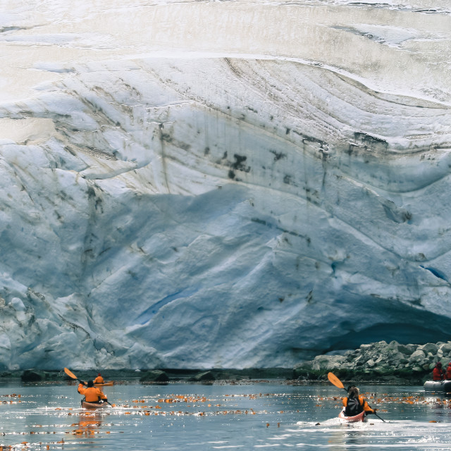 """""""Kayaking among glaciers of South Georgia"""" stock image"""