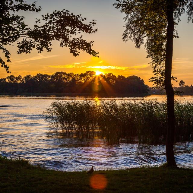 """""""Sunset over the lake, Ełk, Mazury, Poland"""" stock image"""