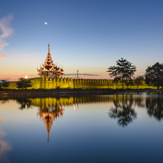 """Mandalay Palace sunrise"" stock image"