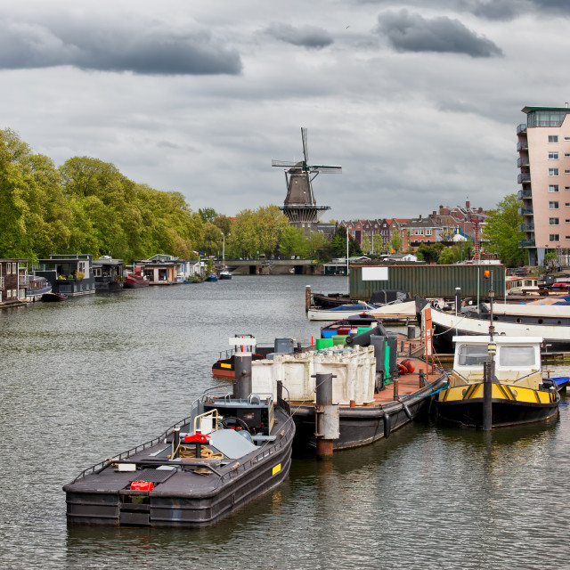 """""""Amsterdam Cityscape from Nieuwevaart Canal"""" stock image"""