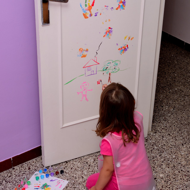 """Little girl painting"" stock image"