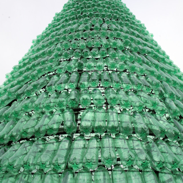 """Christmas tree made of plastic bottles, top, Advent in Zagreb 2015."" stock image"